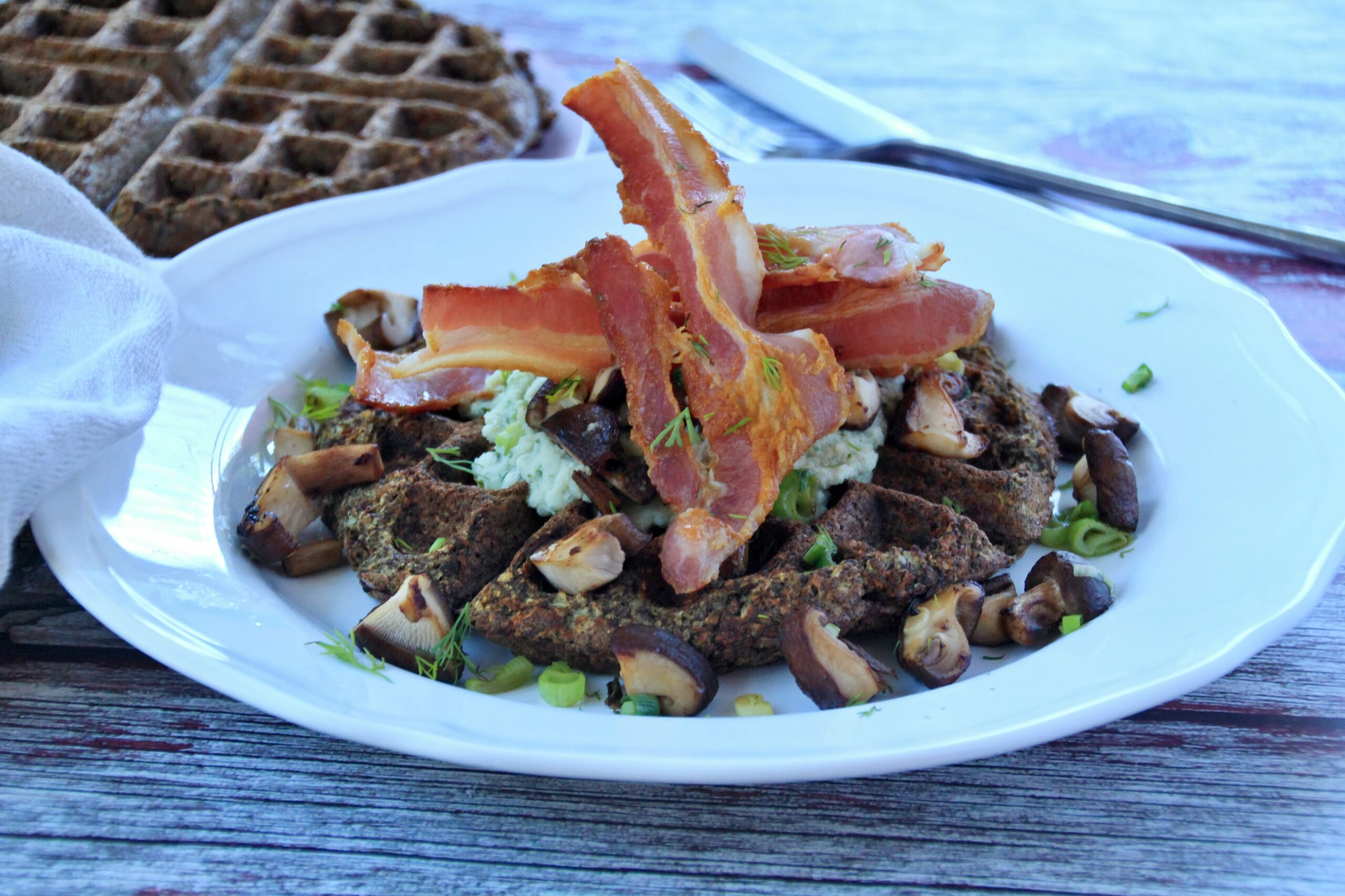Savoury Cauliflower Waffles (Paleo, Whole30, Low Carb, Vegan)